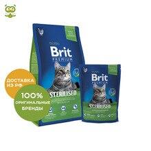 Brit Premium Cat Sterilized для стерилизованных кошек и кастрированных котов, Курица, 800 г.