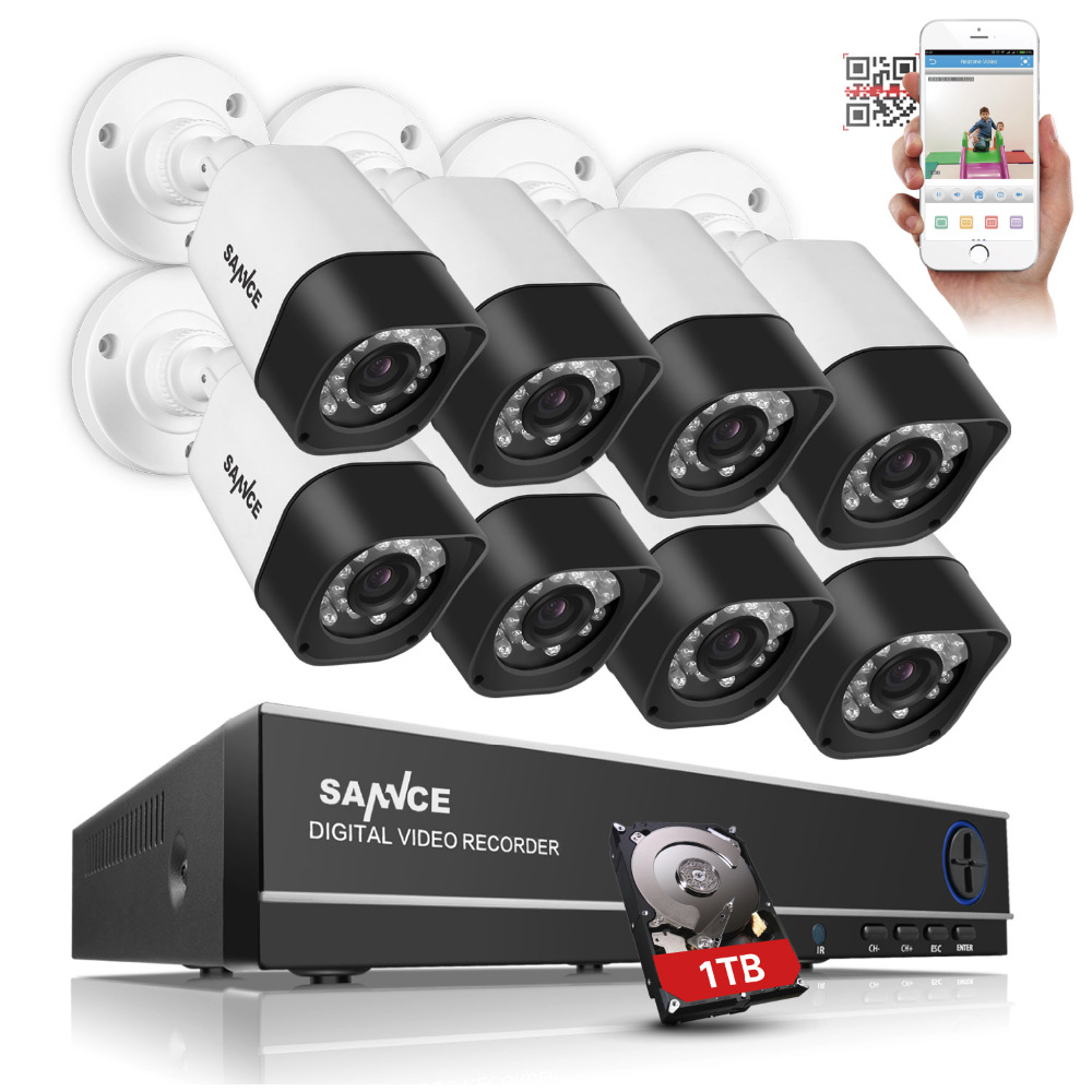 SANNCE 8CH 4 in HDMI DVR 720P IR Outdoor Night Vision 8PCS CCTV Camera Home Security Surveillance CCTV System Kits 1TB HDD sannce cctv system 720p 8ch hd security dvr kit outdoor ir night vision ahd camera kit home security surveillance system 1tb hdd