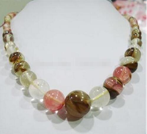 new arrive Faceted 6-14mm <font><b>Watermelon</b></font> <font><b>Tourmaline</b></font> Gems Round Beads Necklace 18