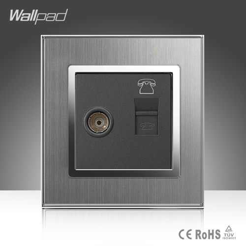 TV + TEL Socket Wallpad 110-250V Brushed Metal UK EU Standard Television Telephone TV and TEL Jack Wall Socket oil rubbed bronze finished bathroom sink faucet single handle waterfall spout tub mixer tap wall mounted