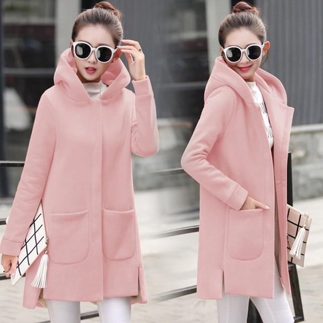2020 automne hiver femmes polaire veste manteaux femme longue à capuche manteaux d'extérieur chaud épais femelle rouge Slim Fit vestes à capuche 5