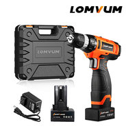 LOMVUM Electric Drill Screwdriver Cordless Screwdriver Tool Impact Cordless Drills 2 Lithium Ion Battery Screw Rotary Tool.