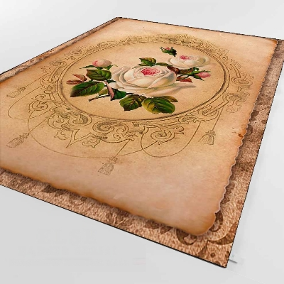 Else Brown Vintage White Pink Roses Flowers 3d Print Non Slip Microfiber Living Room Decorative Modern Washable Area Rug Mat