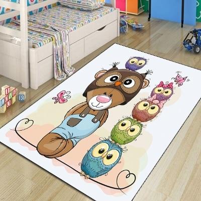 Else Blue Green Pink Owls Funny Bears Animals Boys 3d Print Non Slip Microfiber Children Kids Room Decorative Area Rug Kids  Mat