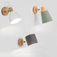 Modern bedside study reading wall lamp Universal rotationr Solid wood wall lamp simple background wall lamp cloakroom lamps