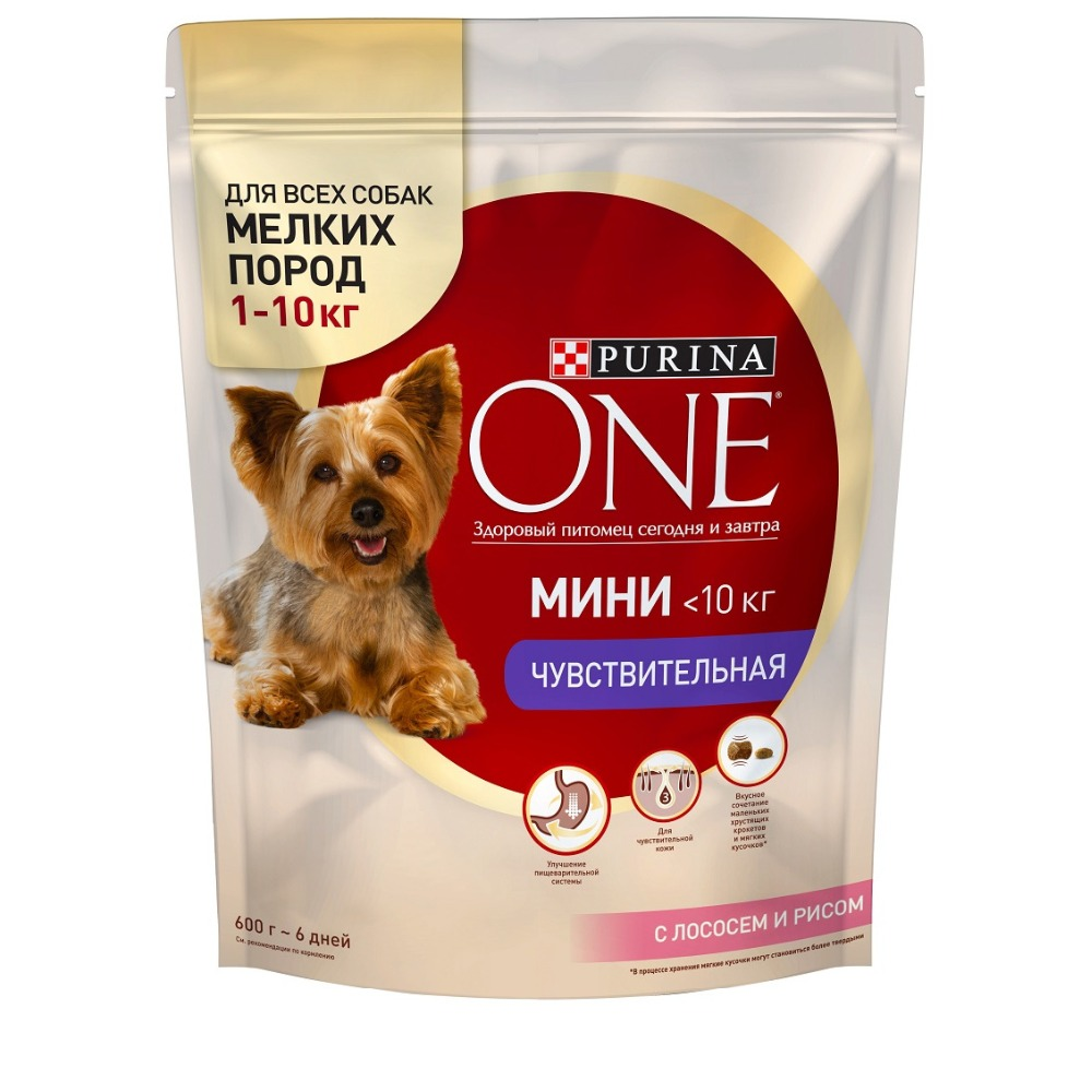 Dry dog food of small breeds Purina One Mini Sensitive, with salmon and rice, 4.8 kg. corn rice multi functional food extrusion moulding machine without motor and rack