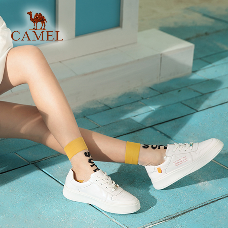 อูฐฤดูใบไม้ผลิผู้หญิงใหม่แฟชั่น Ins รองเท้าผู้หญิงรองเท้าลำลองหนังแท้สีขาวรองเท้าสำหรับสุภาพสตรี Lace Trend Flats รองเท้า-ใน รองเท้าส้นเตี้ยสตรี จาก รองเท้า บน   2