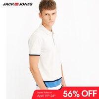 JackJones для мужчин хлопок Slim Fit Smart повседневное бизнес Топ Простая рубашка-поло короткий рукав новый модный бренд 218106516