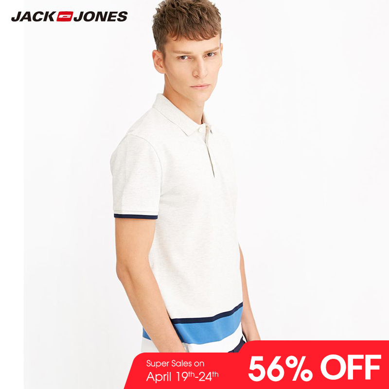 JackJones Men's Cotton Slim Fit Smart Casual Business Top Basic   POLO   Shirt Men's Short Sleeve Top New Brand Fashion 218106516