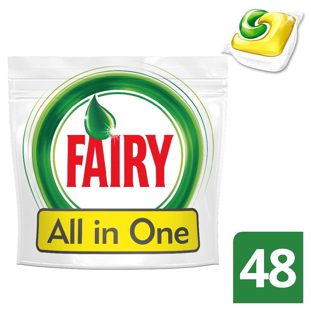 Lemon Dishwasher Tablets Fairy All In One (Pack of 48) Tableware Washing Dishes Detergents for Dishwashers lemon dishwasher tablets fairy all in one lemon pack of 84 tableware washing dishes detergents for dishwashers