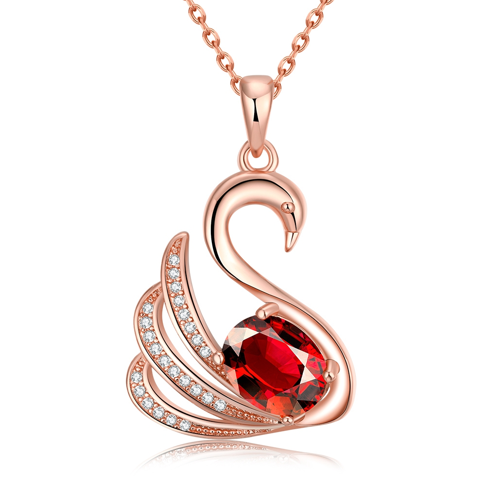 NEW FASHION Noble Animal Goose Design Pave Red Zircon Fashion Classical Charming RoseGold Pendant Necklace