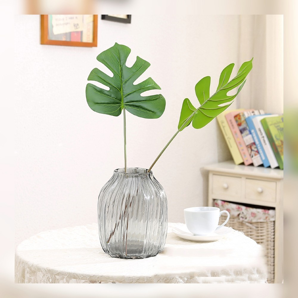 Online get cheap artificial plastic trees aliexpress 1pcs monstera palm leaves leaf botany green artificial flower plant tree leaves plastic flowers simple wedding dhlflorist Image collections