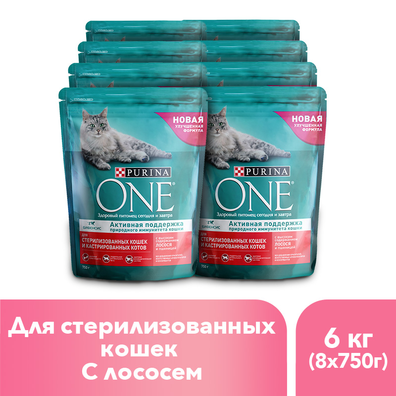 Purina ONE dry food for sterilised cats and cats with salmon and wheat, 6 kg. gorgeous 50cm length golden thick braided wheat chain necklace for men