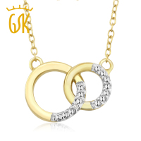 GemStoneKing Accent Diamante 18 K Placcato Oro Giallo Naturale 925 Argento Interbloccate Del Cerchio Del Cerchio Collana Pendente Per Le Donne
