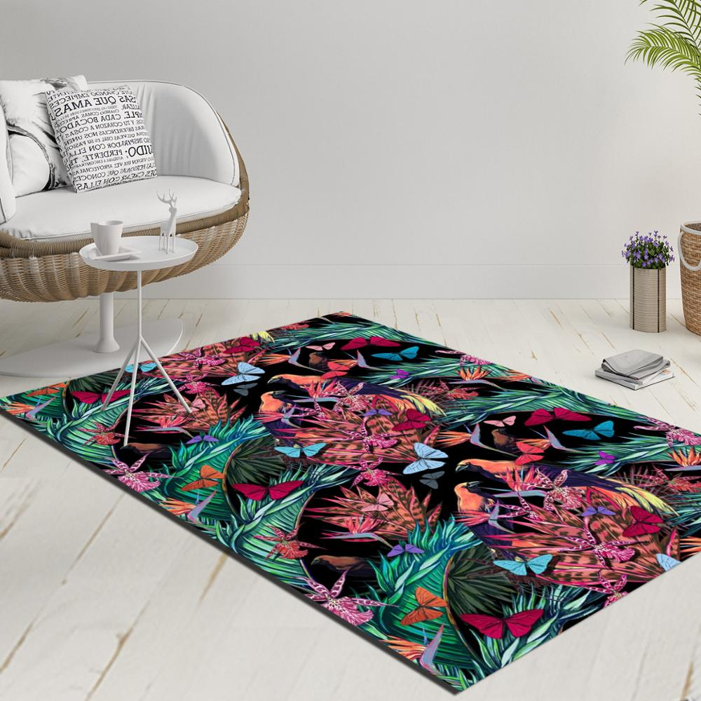 Else Black Floor Tropical Birds Purple Flowers Green Leaves 3d Print Anti Slip Kilim Washable Decorative Kilim Rug Modern Carpet