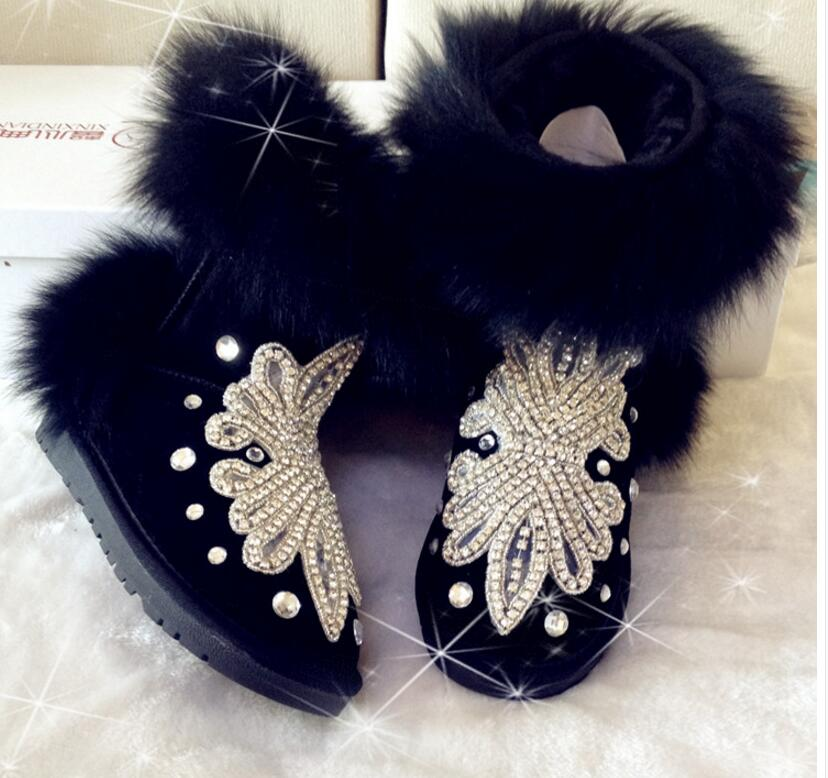 LoneLinecc Is Hand Hot Black Fox Genuine Leather Mid-Calf Boots Flats With Women's Shoes Round Toe Crystal Snow Boots рюкзак case logic 17 3 prevailer black prev217blk mid