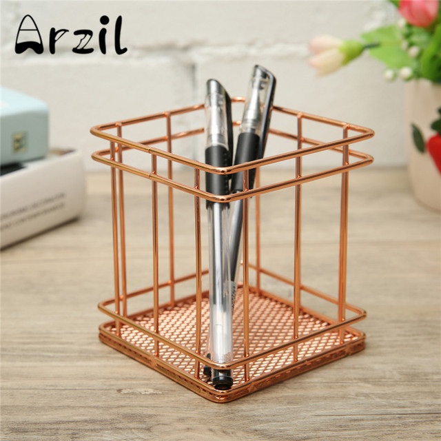 Rose Gold Iron Mesh Metal Square Pen Holder Container Stationery Fittings Metal Pencil Pen Office Desk Organizer Container
