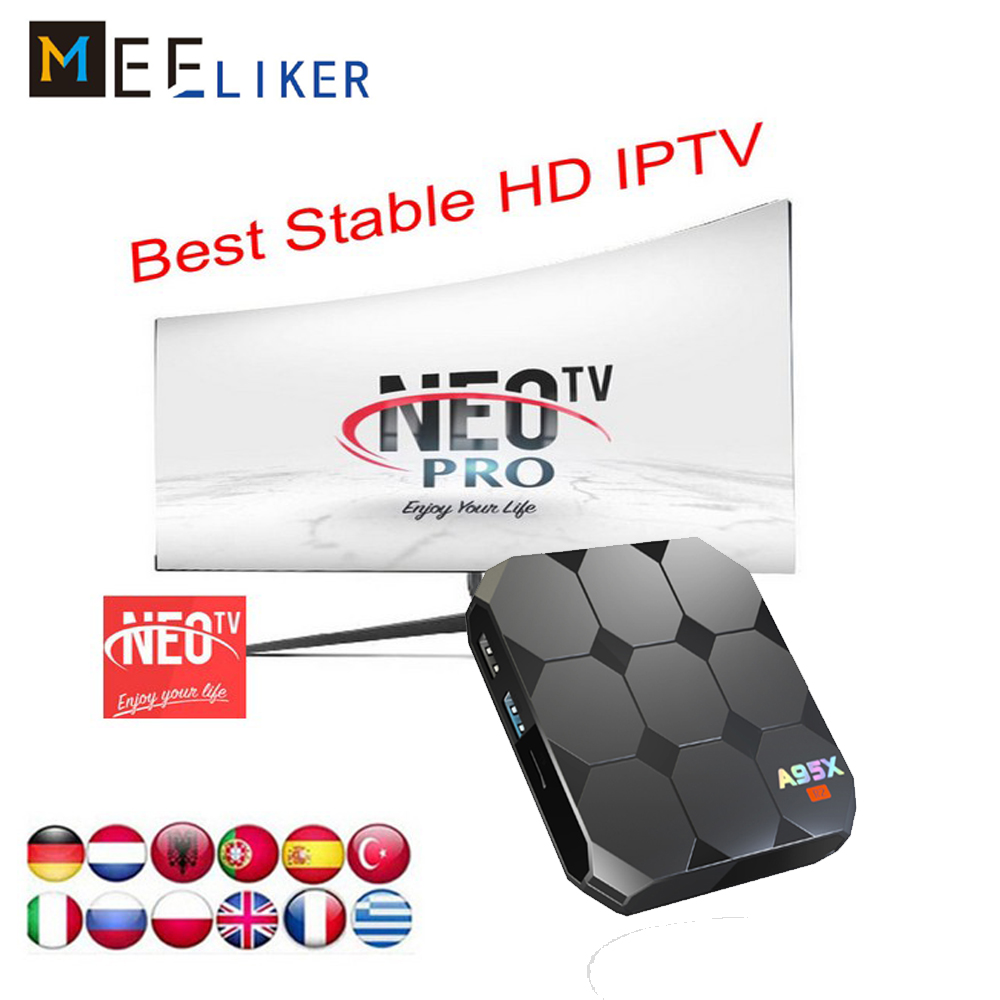 US $30 4 |1Year Free IPTV NEOTV PRO A95X R2 2G 16G Android 7 1 Smart TV Box  4K ultra HD Amlogic S905W for arabic French sports channels-in Set-top