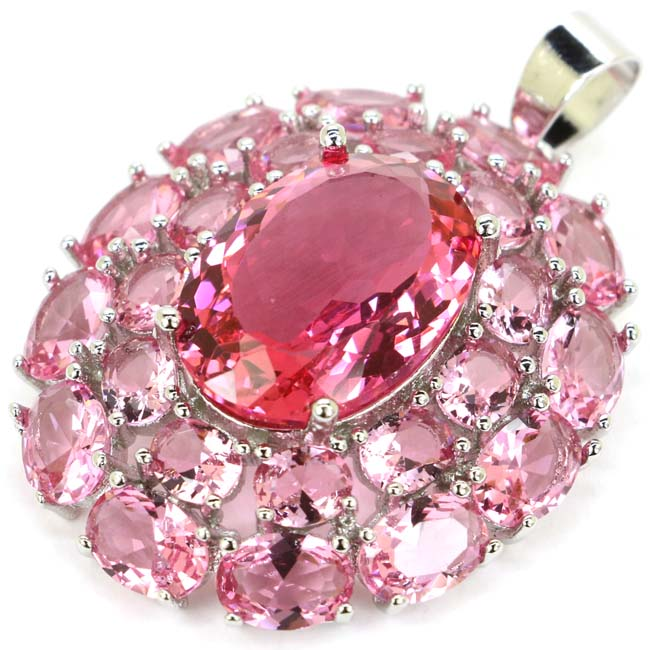 Deluxe Big Heavy 10.5g Pink Sapphirs Woman's Wedding 925 Silver Pendant 40x30mm