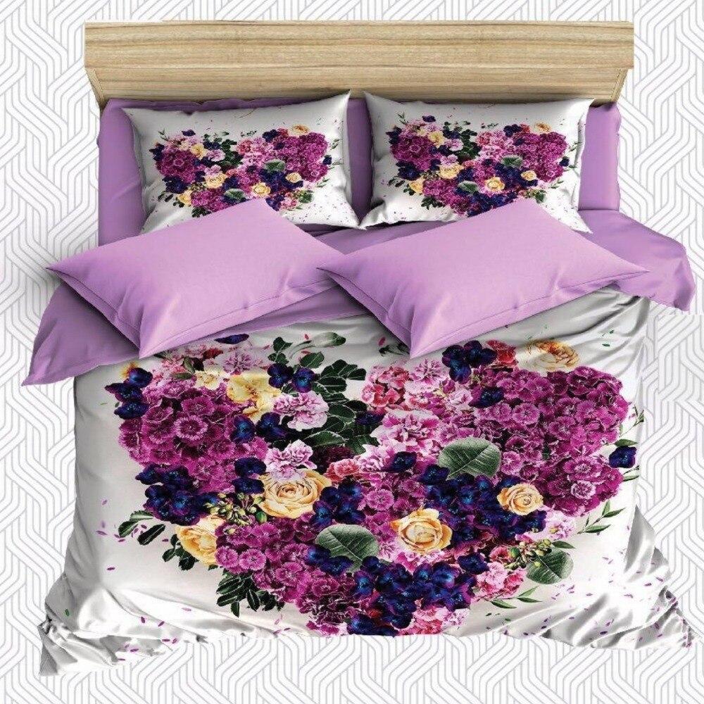 Other 6 pièces violet jaune bleu coeur Roses fleurs impression 3D coton Satin Double housse de couette literie ensemble taie d'oreiller drap de lit