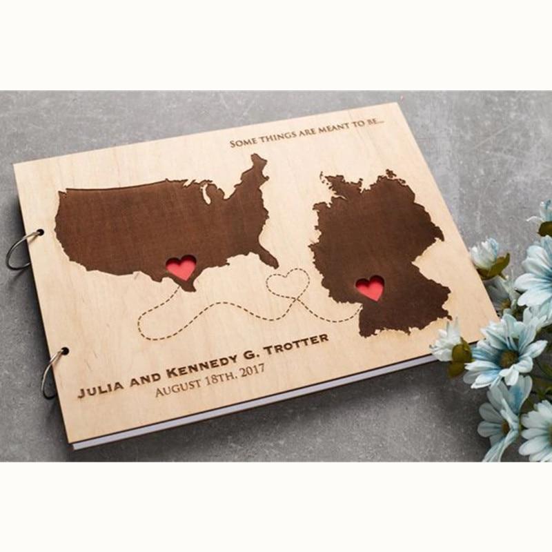 Guestbook Wedding Wooden Landscape Book Guest Signature Rustic Wedding Guest Book A4 Alternatives World Map Lettering Book Album