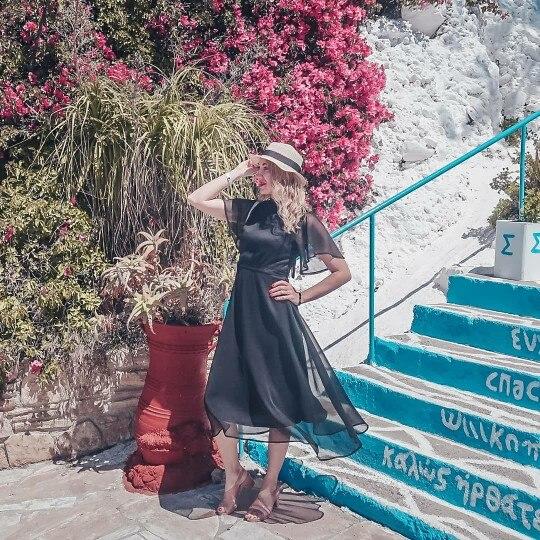 Black Elegant Flounce Sleeve Dress Women Summer Sexy Back Lace Up Midi Dresses Ladies Sheer Mesh Flutter Dress photo review