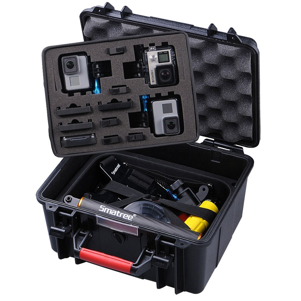Smatree GA700-3 Water-Resist Hard Box Carry Case for Gopro Hero 5 / 4 / 3+ / 3 / 2 / 1,for Xiaomi Yi/SJCAM Action Camera