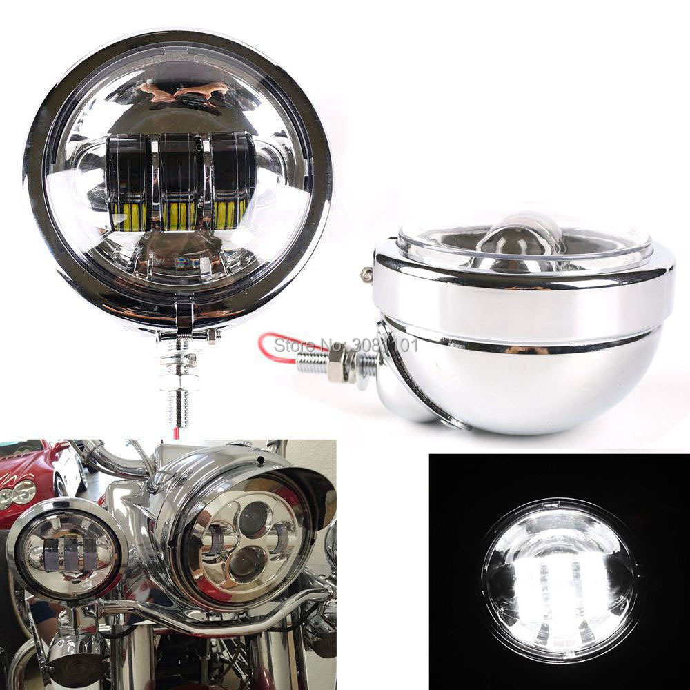 4.5 4-1/2 30W LED Passing Fog Light Projector with Lamp Housing Shell Bracket for Harley Road King Street Glide(Chrome Set)