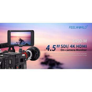Feelworld S450-M 4.5'' SDI/4K HDMI Input On-Camera Monitor Full HD Screen Video Display 3G-SDI Output Video Monitor for Camera