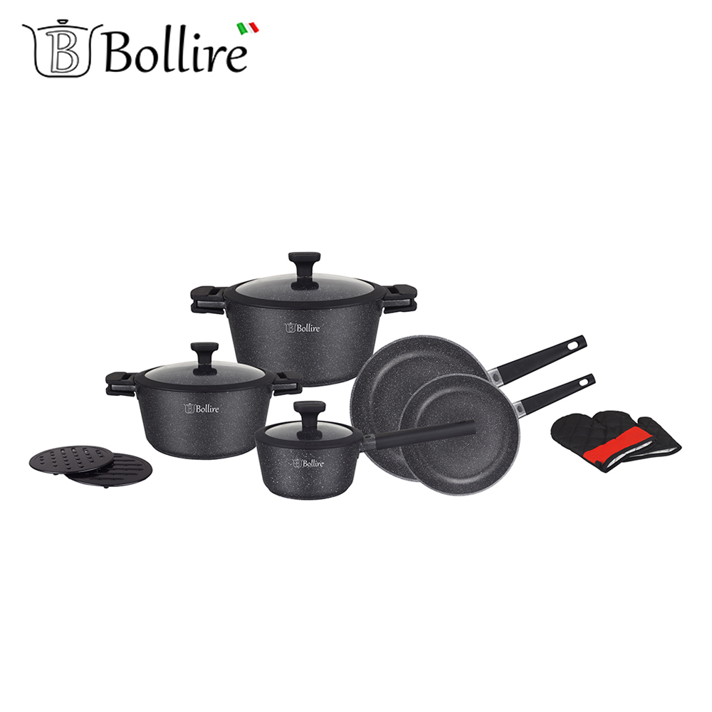 Cookware Sets BOLLIRE BR-1320 set of pans stainless steel pan everything for the kitchen kitchen tongs silica gel stainless steel barbecue pizza bread steak clip