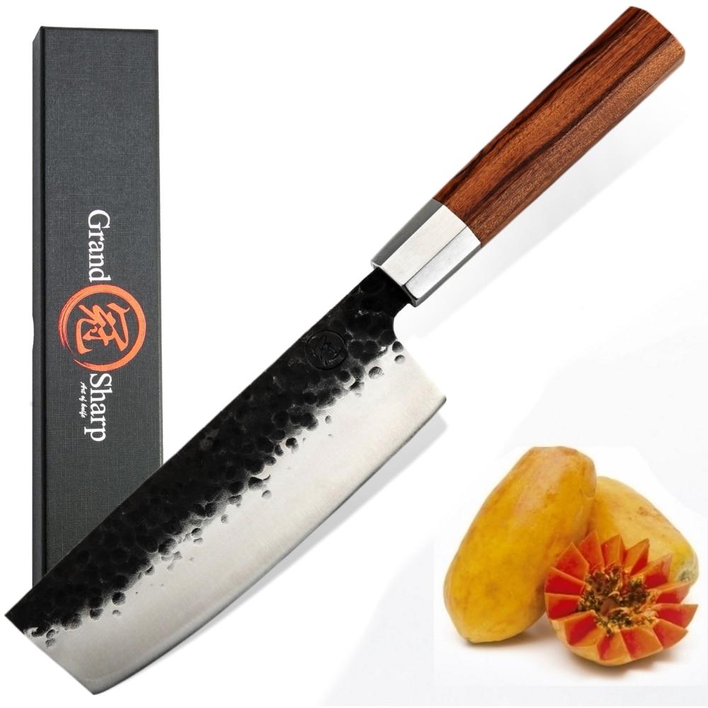 Couteau à légumes couteau Nakiri japonais   Couteau à légumes 6.7 pouces en acier à haute teneur en carbone, couteau de Chef, outil de coupe et de tranchage, outils pour la maison, couteaux de cuisine