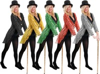 ADULT LADIES SEQUIN TAILCOAT UNISEX CABARET DANCING CLUB FANCY DRESS CIRCUS RINGMASTER DANCE COSTUME