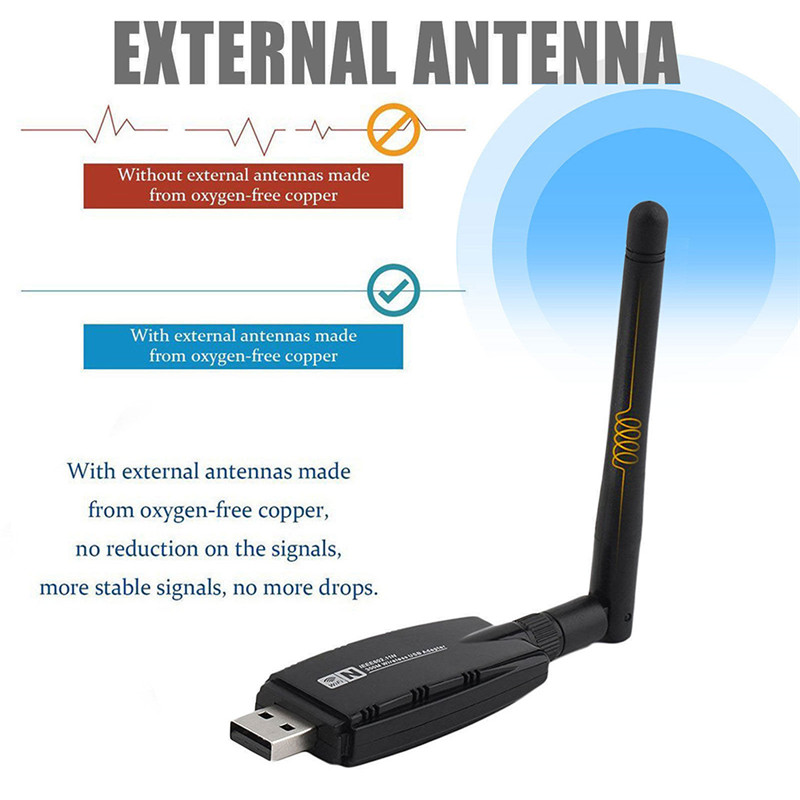 Drop Shipping 300Mbps Wireless USB WiFi Adapter + 3dBi WiFi Antenna Network Adapter Dongle For Windows 7/8/10/Kali Linux