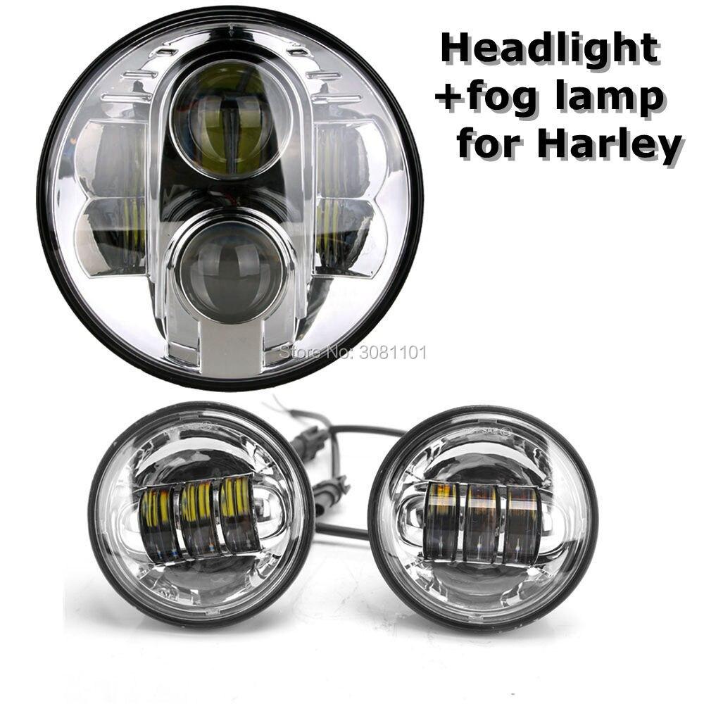 1 компл. 7 хром/черный проектор светодиодный фар Hi/ближнего света H4 с 4,5 хром/ черный Туман свет для Harley Road King Softail