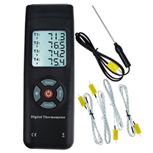 4 Channel Digital Thermocouples K Type Thermometer with Backlight K Type Metal & Bead Probe Temperature Instrument