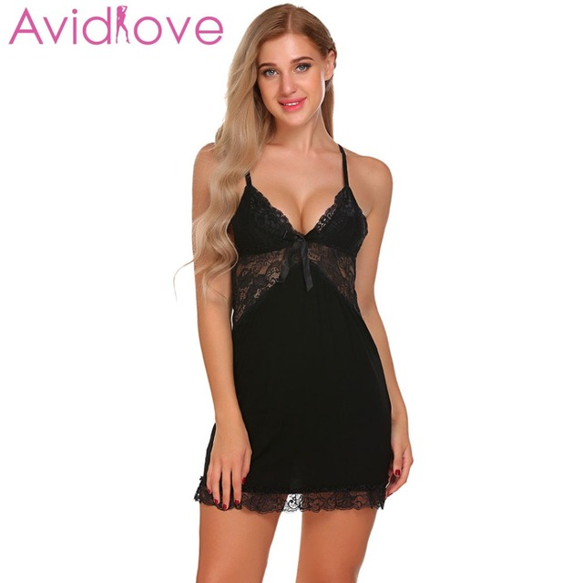 2422cd775e9 US $9.77 40% OFF|Avidlove Sexy Nightgown Modis Lingerie Patchwork  Nightdress Cotton Women Sheer Scalloped Nightwear Slip Sleepwear  Chemises-in ...