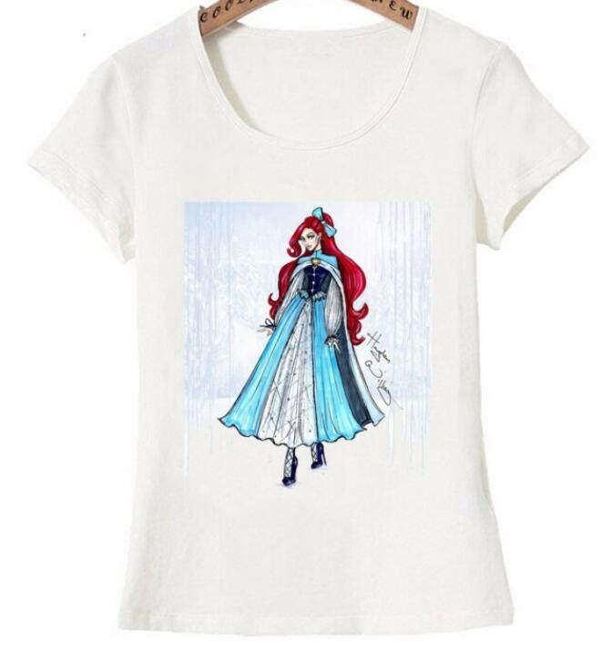 Nouveau t T Shirt mignon femmes manches courtes hiver neige mode tendance princesse s rie T