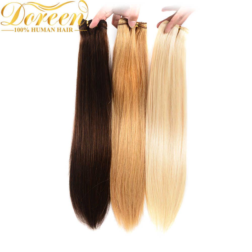 Doreen 100% coloridos paquetes de cabello humano pelo Remy recto brasileño #1 # 1B #2 #4 #27 #613 paquetes de cabello rubio 20 22 24 26