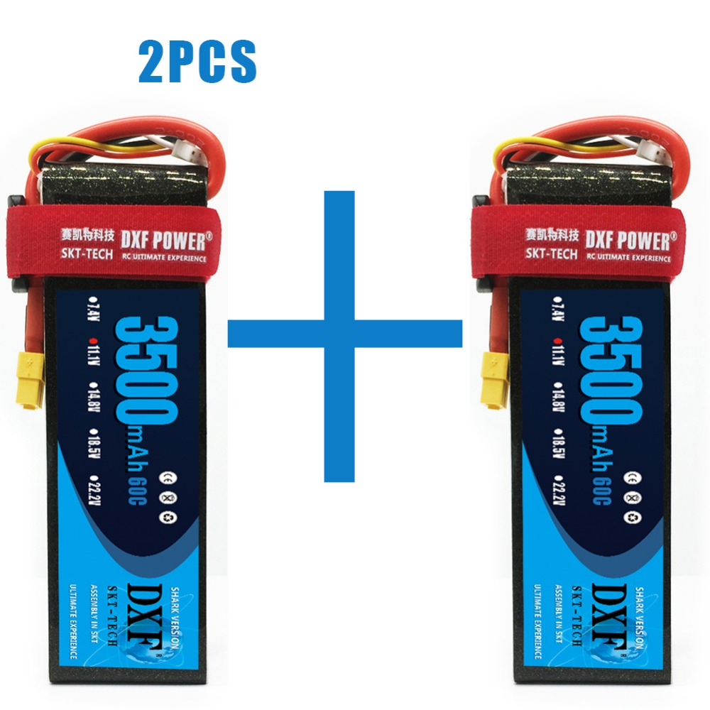 2PCS DXF <font><b>lipo</b></font> Battery <font><b>3S</b></font> 11.1V 3500mah 4200mah 7000mah <font><b>8000mah</b></font> 60C 120C 240C For 1/10 1/8 RC Car Truck FPV Drone Helicopter image