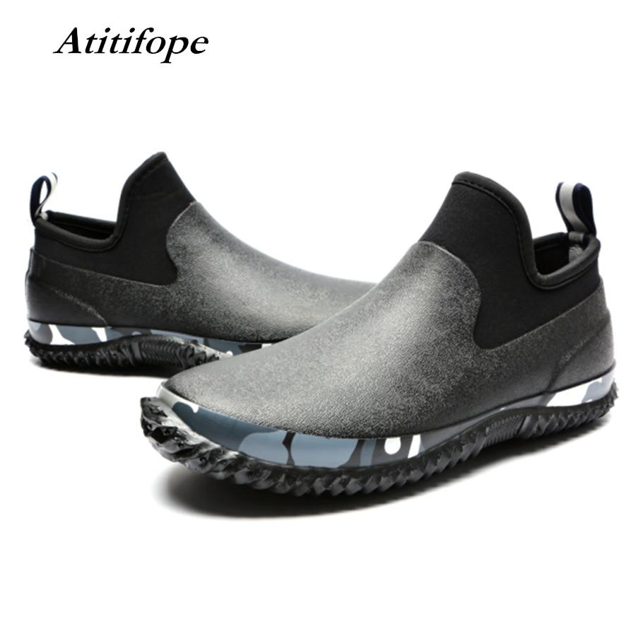 Men's Waterproof Garden Shoes Mens Slip-on Neoprene Car Wash Shoes Short Rain Boots Rain Footwear Fishing Shoes