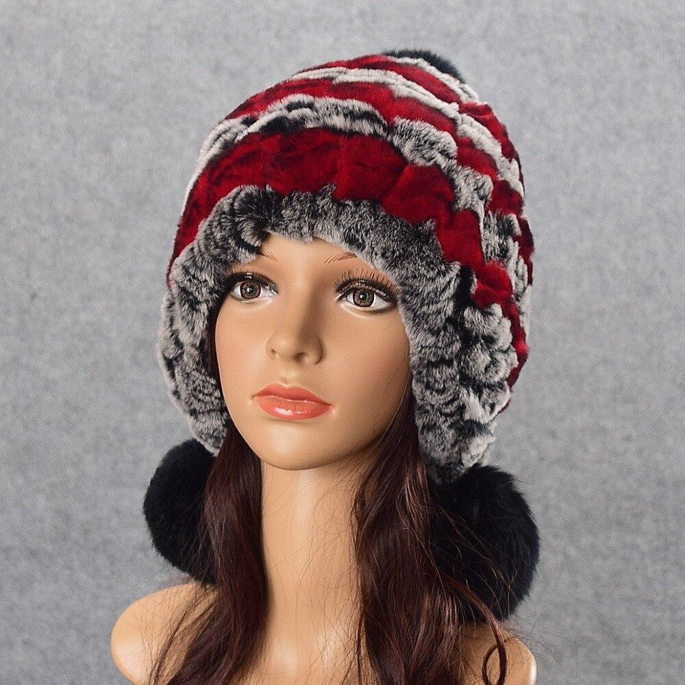 f67f864852f Russian Winter knitted fur Cap women s hat natural rex rabbit fur hats  Beanie Head Warmer Top Quality free shipping
