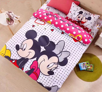 Mickey mouse comforter bedding set Twin size Disney cartoon minnie duvet cover 3/4pcs child kids bedroom decor pink polka dot