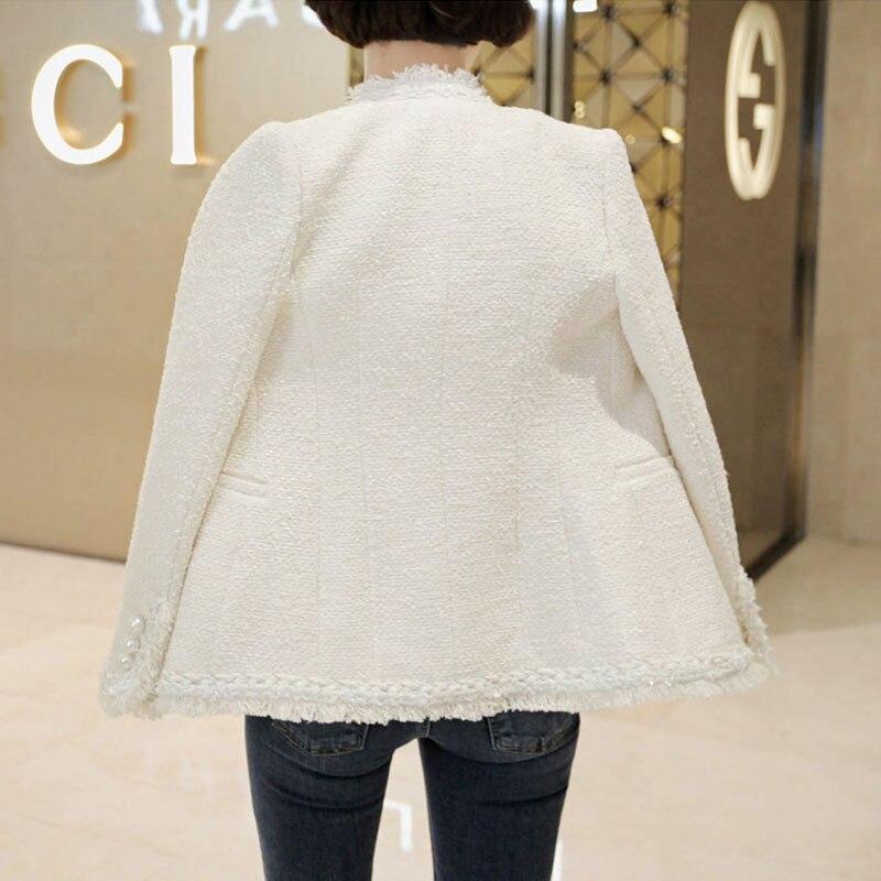 Nuevo Chaqueta Lana Otoño Tweed Abrigo Señoras Para 1 Chaquetas Femenina Corta Feminino Casaco Abrigos 2 Mujer Delgada Elegante Vintage De 400Ewqd
