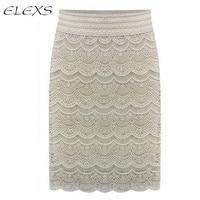 ELEXS 2017 חצאית גבוהה מותן Bodycon חצאיות תחרת נשים גבירותיי עיפרון חצאית רשמי בציר נשי E7931
