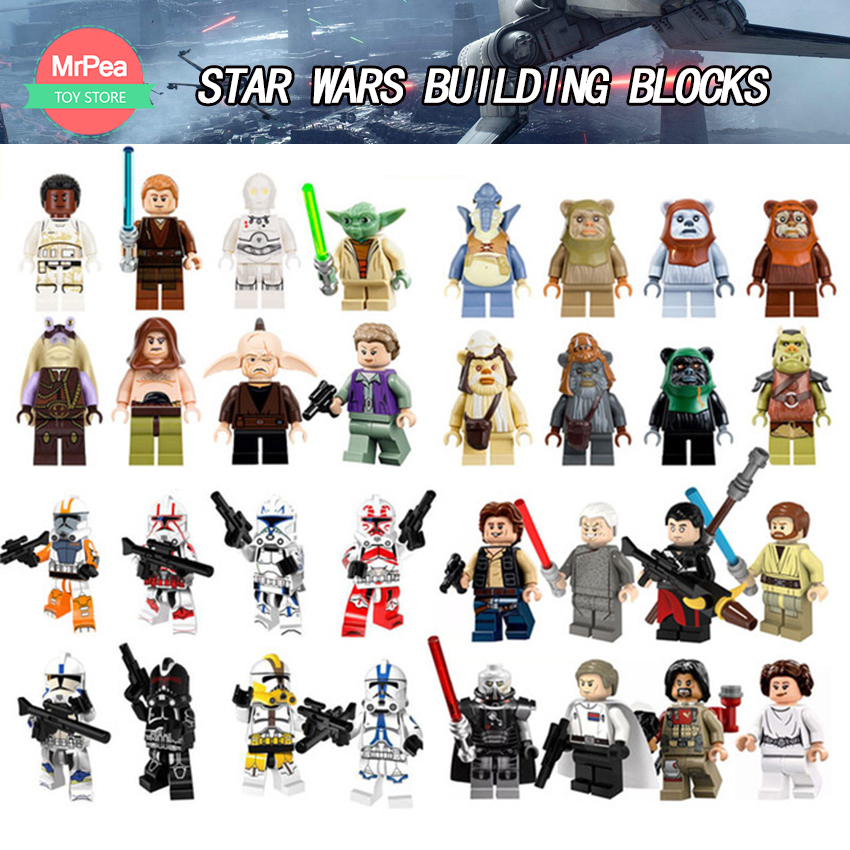 Star Wars Building Blocks Toys Compatible legoINGly Luke Leia Han Solo Anakin Darth Vader Yoda Jar Jar legoings figures zk30 legoelied star wars super heros marvel dc minifigures darth revan yoda deadpool batman v superman figures building blocks toys