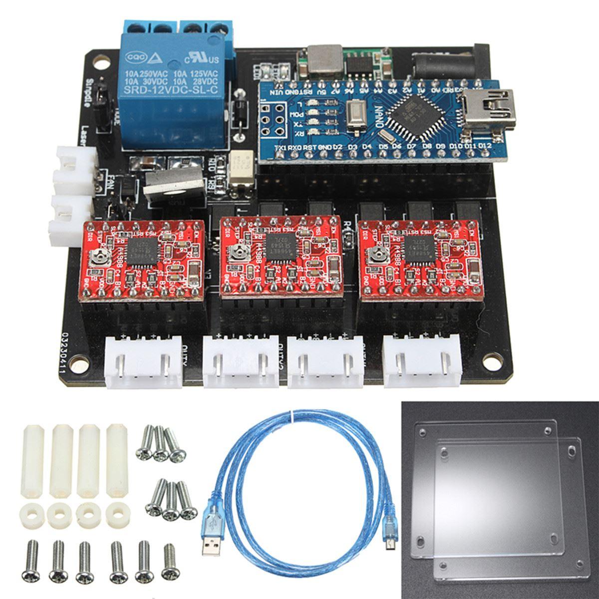 1 Set Usb 3 Axis Stepper Motor Driver Board For Grbl Diy