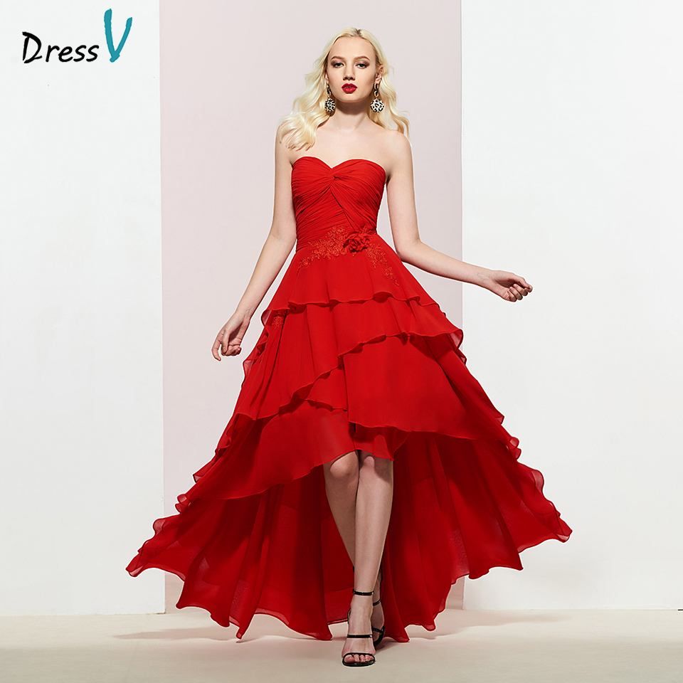 Dressv Party-Gown Appliques Strapless Evening Long Red A-Line Pleat Zipper-Up