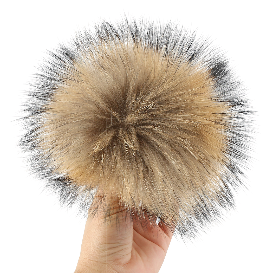 Pompom Beanie Hat Shoes Raccoon-Fur Natural-Accessories Winter Real Fox-Fur-Ball Mink