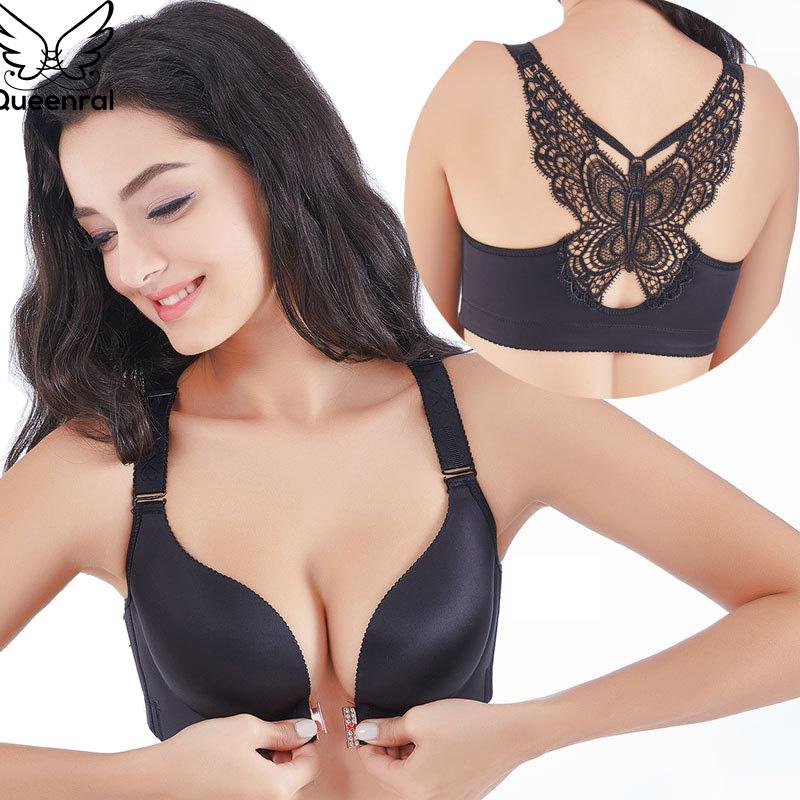 361e3973a2 Queenral Seamless Bra Plus Size CDE Cup Front Closure Bralete Push Up  Brassiere For Women Underwear