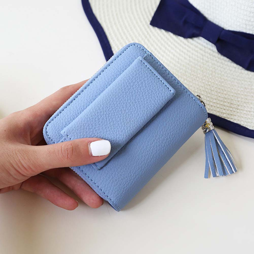 New Design Women Mini Wallets Female Tassel Pendant Short Money Wallets PU Leather Lady Zipper Coin Purses Fashion Card Holders